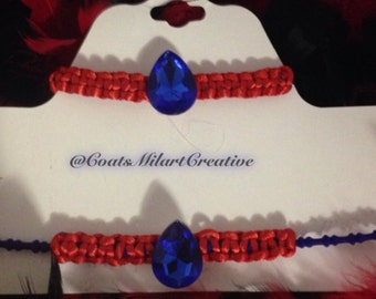 Set of necklace and bracelet in red and blue - handmade