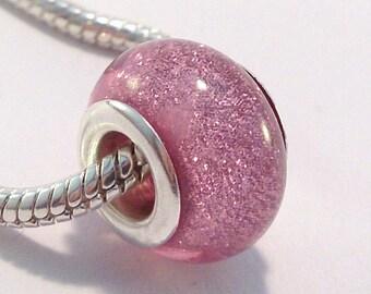 2 European beads, acrylic charm's pink glitter (116 A)