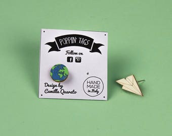 Wooden EARRINGS, laser cut, hypoallergenic: GLOBE and Paper AIRPLANE