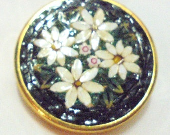 Micro Mosiac Pin Black with White Daisies and Green Leaves Marked Italy