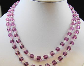 Two Strand Purple and Clear Glass Bead Nested Necklace