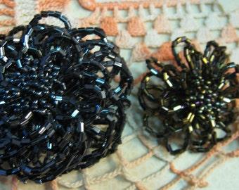 Vintage SEQUIN Mettalic Gray Brooch Lot Of 2 Pins Estate JEWELRY Costume Designer Jewelry c 1970 Era Free Shipping