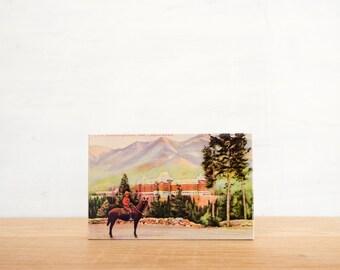 Vintage Postcard Art Block 'Banff Springs Mountie' - Canadiana, Canadian Mountie, image transfer