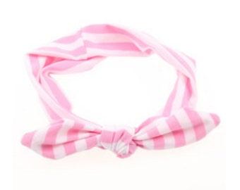 CUTE Pink and White Elastic Headband knot tie headband