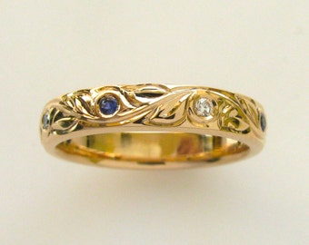 Hand Engraved Vine and Leaf Wedding/Anniversary 4mm Band in 14k Pink Gold with Natural Sapphires and Diamonds
