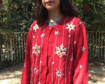 Ugly Christmas sweater, red cardigan sweater, red, gold, white, XL