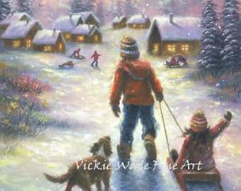 Children Snow Sledding Art Print cabin brother and sister, boy, girl snow paintings western wall art nostalgic, Vickie Wade art
