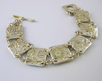 Silver and Gold Mixed Metal Jewelry, Mixed Metal Bracelet, Handmade Silver and Gold Bracelet, 24K Gold and Silver, Butterfly Bracelet
