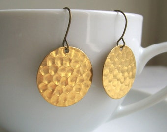 Gold Hammered Disc earrings - Golden Sun - raw brass - textured circles - nickel free