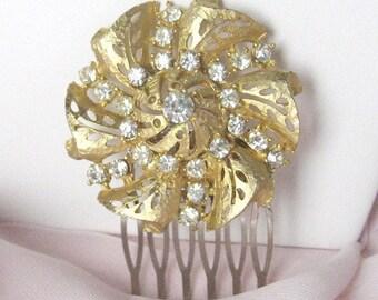 Vintage Gold Rhinestone Hair Comb - OOAK - Handmade with Vintage Brooch - Wedding Hair Comb