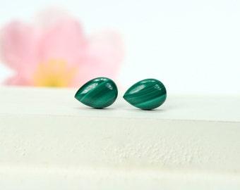 Malachite earrings - malachite studs earrings - stud earrings - dot earrings - simple stud earrings - green earrings - teardrop earrings