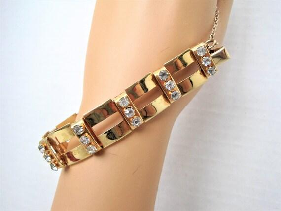 Rhinestone Link Bracelet, Gold Rectangular Panels, Vintage Modernistic Design