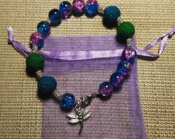 Dragonfly Lava Bead Bracelet