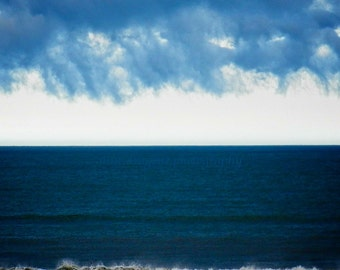 Beach Photography, Navy Blue Beach Print, Nature Photography,Ocean Art,Stormy Ocean Print,Cloudy Sky Beach Art,Dark Blue Wall Decor,Blue Art