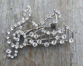 Rhinestone Treble Clef and Musical Note Brooch