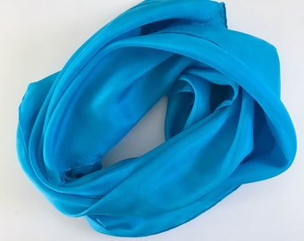 Blue Silk Scarf -  Hand Dyed Silk Scarf - Blue Scarf - Unique Scarf - Gift for Mom - Mother's Day - Women Accessory - Capsule Wardrobe