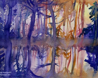 First Sun Rays Art Print A5 / 5 x 7 Summer Autumn Forest Landscape Morning Forest Watercolor Fine Art Print  Forest Trees Reflection