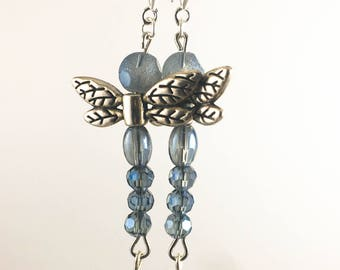 Dragonfly Aromatherapy Earrings Sterling Silver w/ Lava Stone and Czech Glass w/ Essential Oil