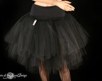 tutu skirt black Adult Three Layer Petticoat Midnight dance bridal wedding costume halloween -- You Choose Size -- Sisters of the Moon