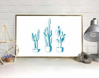Cactus Digital Art Print (Set of 3 + BONUS)