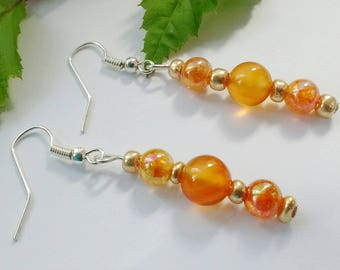 Amber Bead Earrings, Orange Earrings, Long Amber Earrings, Bronze Bead Earrings, Amber Tone Earrings, Amber Drop Earrings, Dangle Earrings,