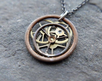 """Gear Pendant """"Haedus"""" Necklace Recycled Mechanical Watch Parts Intricate Sculpture Wearable Art Steampunk Assembly Gershenson"""