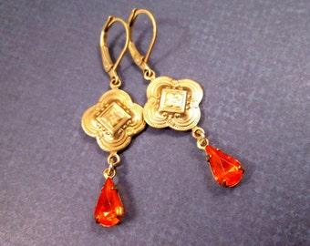 Rhinestone Drop Earrings, Red Glass Stones, Gold Dangle Earrings, FREE Shipping U.S.