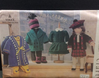 """Vogue Craft 18"""" Doll Sewing Pattern 7008 Dress Coat Clothes Linda Carr"""