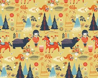 Horse Fabric - Birch Fabrics Wildland Village Feast organic cotton