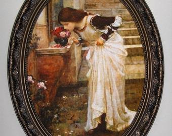 JOHN WILLIAM WATERHOUSE Art print on canvas in oval frame