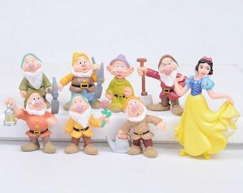 CAKE TOPPER - Snow White and the Seven Dwarfs 8 Figure Set Custom Wedding Birthday Party Decor DIY Cupcakes Figurines