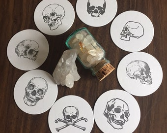 Skull Letterpressed Coasters - Variety 8 pack