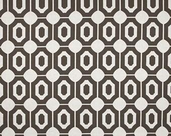 Linen Fabric By the yard Geo Dark Grey on  Ivory