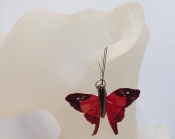 Butterfly earrings red wood