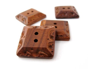 Square buttons - brown wood buttons set of 4 natural carved sewing buttons