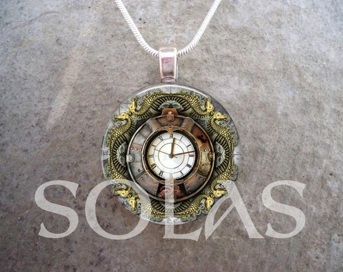 Steampunk Necklace - Glass Pendant Jewelry - Steampunk 1-12