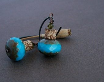 turquoise glass earrings with natural pod beads - bohemian jewelry - dangle earrings - rustic - oxidized silver