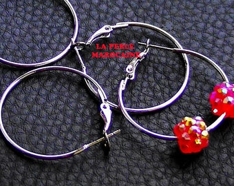 Hoop 5 pairs or supports 40 * 1 MM BEAD Silver earrings