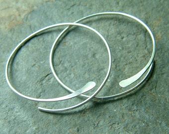 Sterling Silver Open Hoops Hammered Large Silver Hoop Earrings, choose your size, jewelry gift for her, custom hoops, handmade hoops