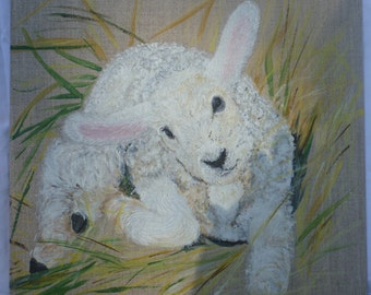 little sheep acrylic painting on canvas Board