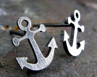 Anchor stud earrings. Sterling silver, 14k gold filled or solid 14k gold. Navy posts. Military wife. Boat in ocean. Stability in sea. Her