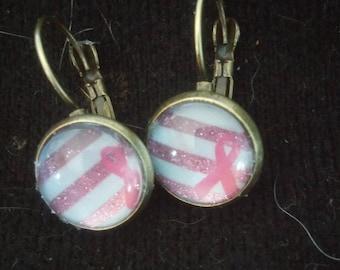Breast cancer awareness pink ribbon earrings
