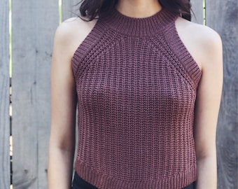 Deep Rose/Burgundy Knitted Tank Crop Top / Trendy Spring Summer