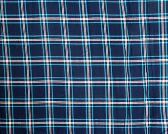cotton fabric / wool madras Plaid, blue, turquoise and white