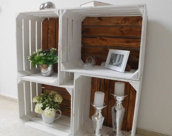 """Package of 4 white wooden crates with flamed floor """"shabby chic"""""""