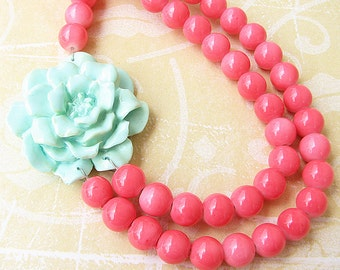 Coral Jewelry Statement Necklace Mint Necklace Flower Necklace Beaded Necklace Double Strand