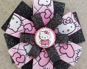 Hello Kitty Hair Bow. Hello Kitty Hair Clip. Black Glitter Hello Kitty Bow.