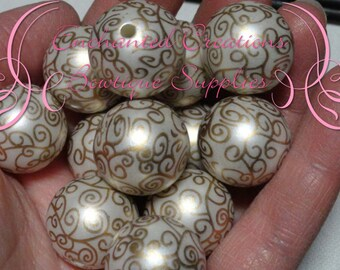 20mm Gold and Ivory Printed Swirl Beads, Valentine's Day Beads 10pcs, Bubblegum Bead, Gumball Beads, Chunky Jewelry Bead, DIY Jewelry Bead
