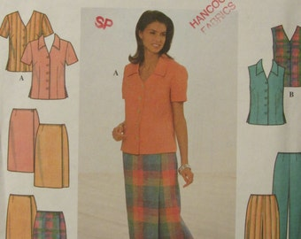 Simplicity 8124/Uncut Sewing Pattern/Misses Womens Blouse, Skirt, Pants/Size 8-10-12/1998