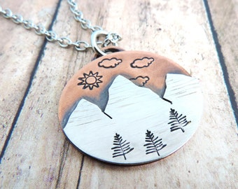 Mixed Metal Mountain Necklace with Sun, Clouds and Pine Trees -  Copper and Silver Nature Jewelry - Gift for Hiker - Outdoor Jewelry